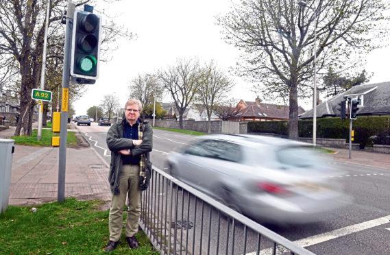 Councillor Ian Yuill at the crossing
