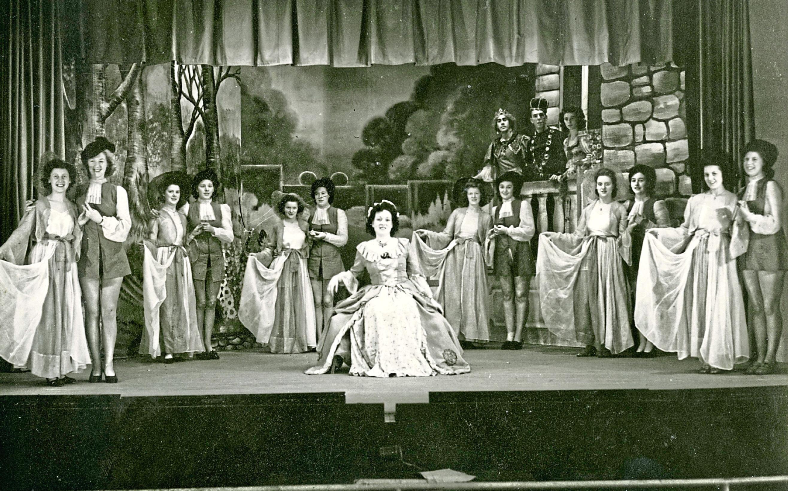 Garden party scene, Sleeping Beauty pantomime, Shrewsbury Theatre, 1944