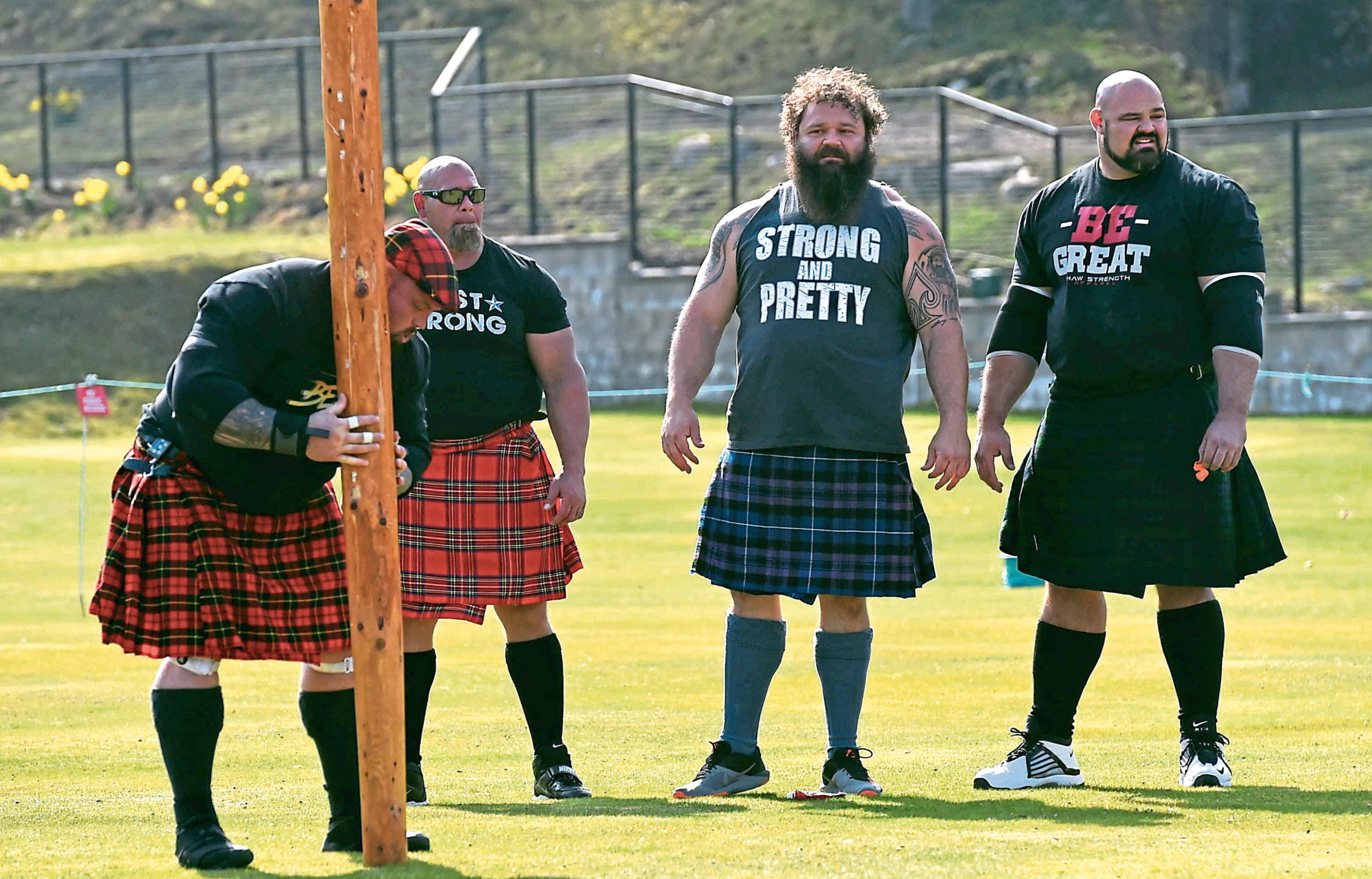 Four of the world's strongest men are filming at Braemar for a TV show
