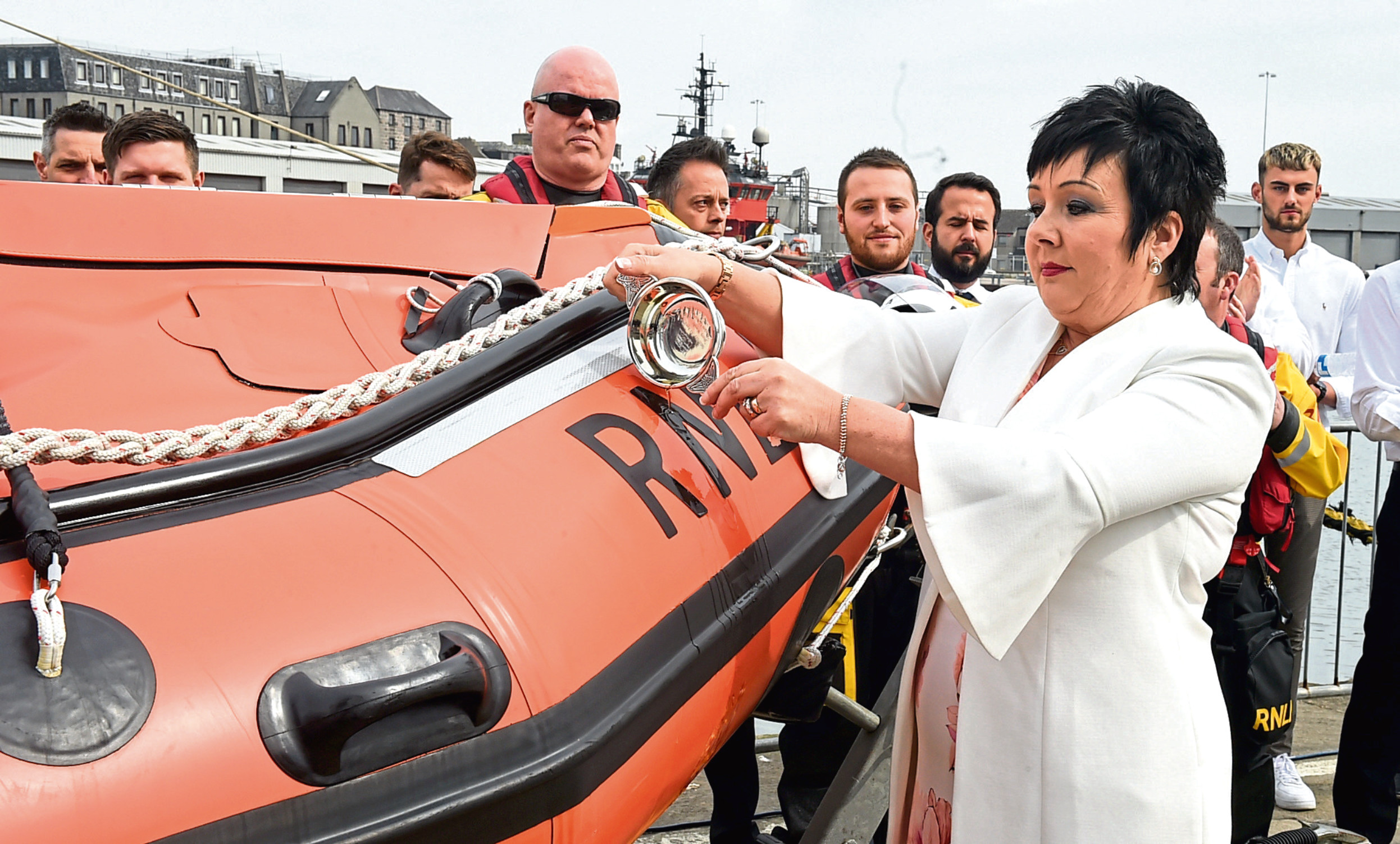 Audrey Wood at the ceremony to name the new lifeboat after her son Stuart