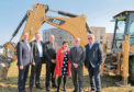 From left, Stewart Milne Homes MD John Low, Stewart Milne land director Richard Fawcus, Hillcrest director of development David Zwirlein, Hillcrest chief executive Angela Linton, MSP Kevin Stewart and Hillcrest chairman Alan Russell