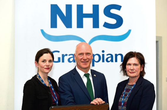 NHS Grampian Chair Lynda Lynch, Joe Fitzpatrick MSP and NHS Grampian Chief Exec Prof Amanda Croft