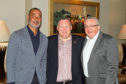 Cove fundraising dinner guest Ruud Gullit, left, with speaker Tam Cowan, right and Cove chairman Keith Moorhouse. Picture courtesy of Cove Rangers FC.