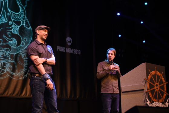 BrewDog founders James Watt and Martin Dickie at today's AGM at the AECC.