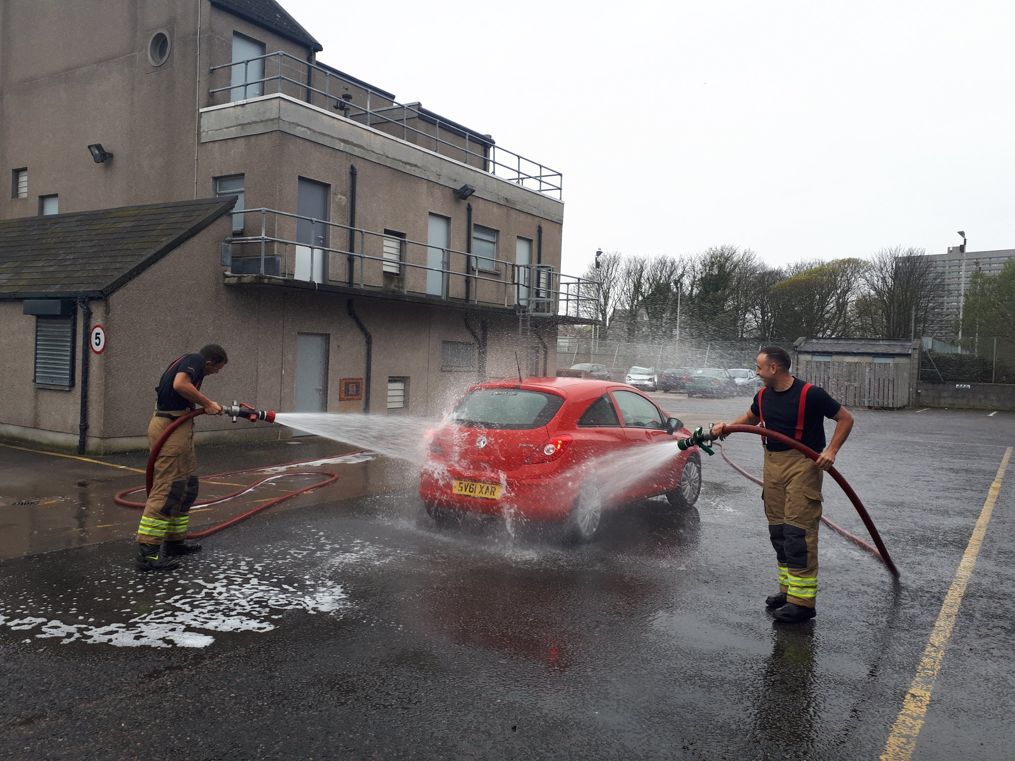 Firefighters raised cash by washing cars at Central Fire Station in Aberdeen