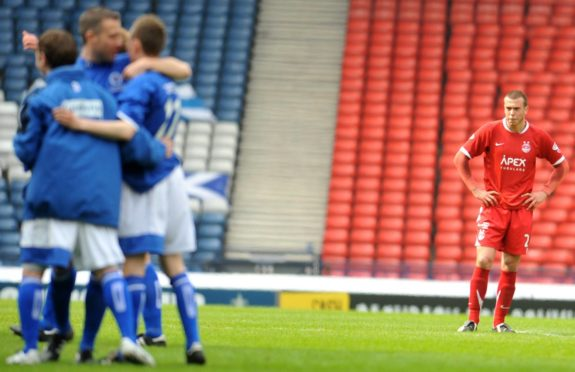 A bereft Andy Considine after the Queen of the South loss at Hampden.