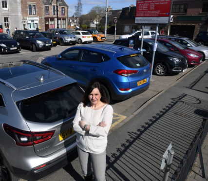 Inverurie Business Association Chairperson Victoria Withy at the council run pay and display car park