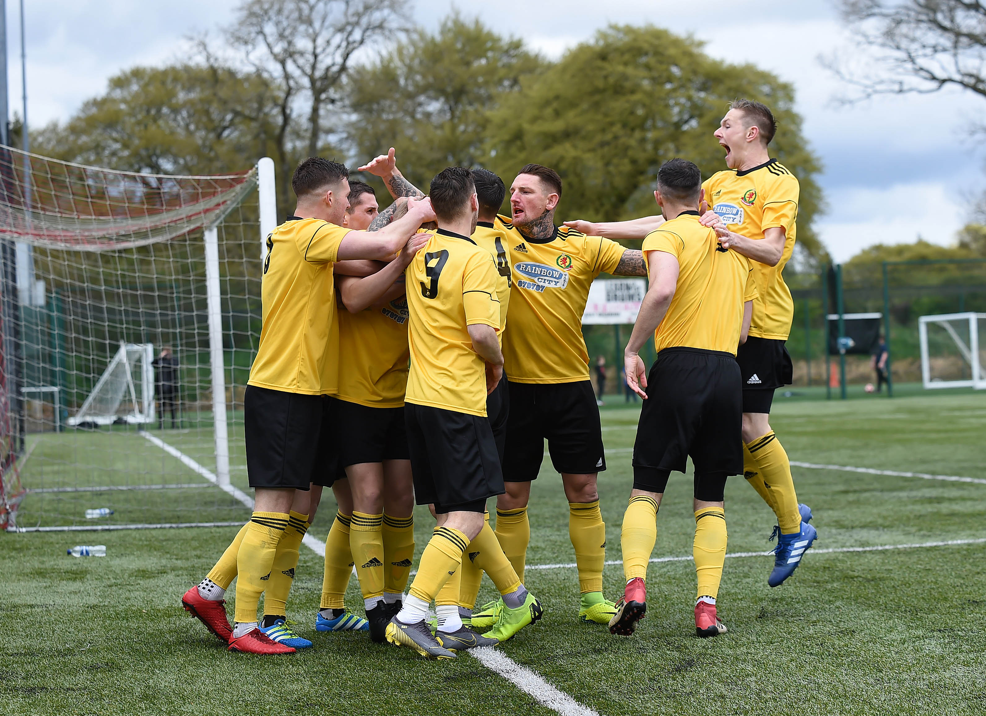 Cove celebrate Harry Milne's opener at K Park.