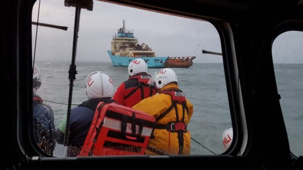 'Bon Accord' makes her approach to MV Maersk Laser