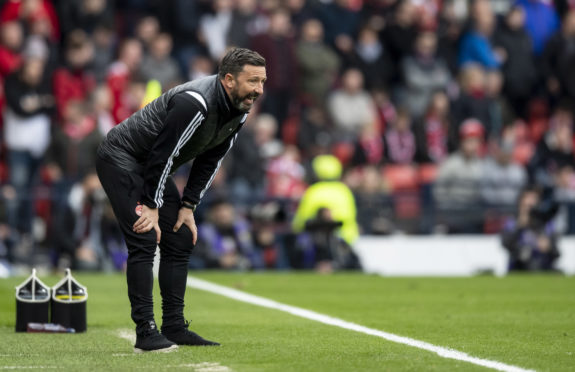 Aberdeen manager Derek McInnes shows his frustration at Hampden.