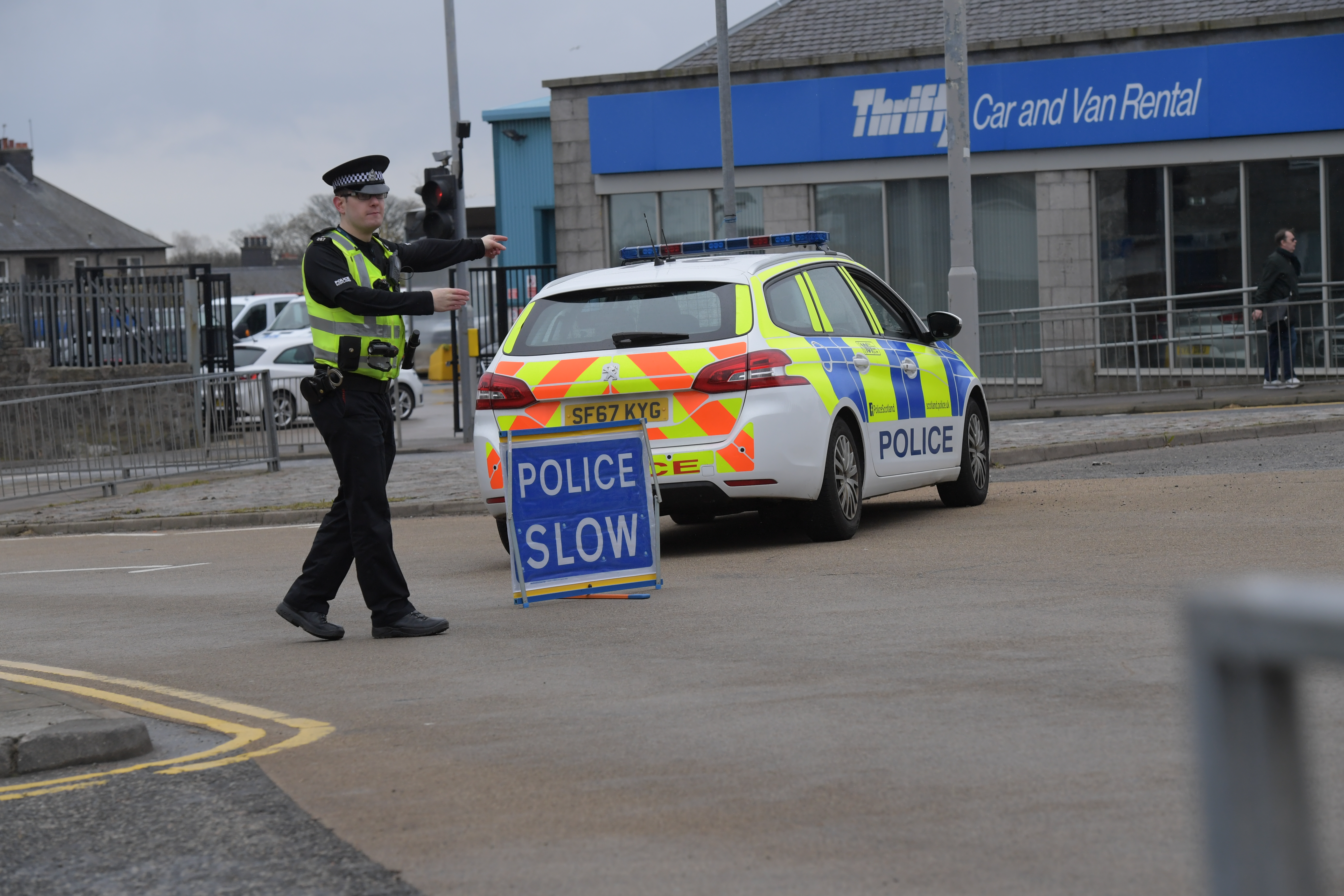 Police at the scene of the crash today