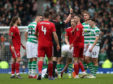 Aberdeen's Dom Ball is shown a second yellow and is sent off during Scottish Cup, semi-final at Hampden.