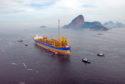 A platform ship seen near  in Guanabara Bay, Rio de Janeiro, Brazil