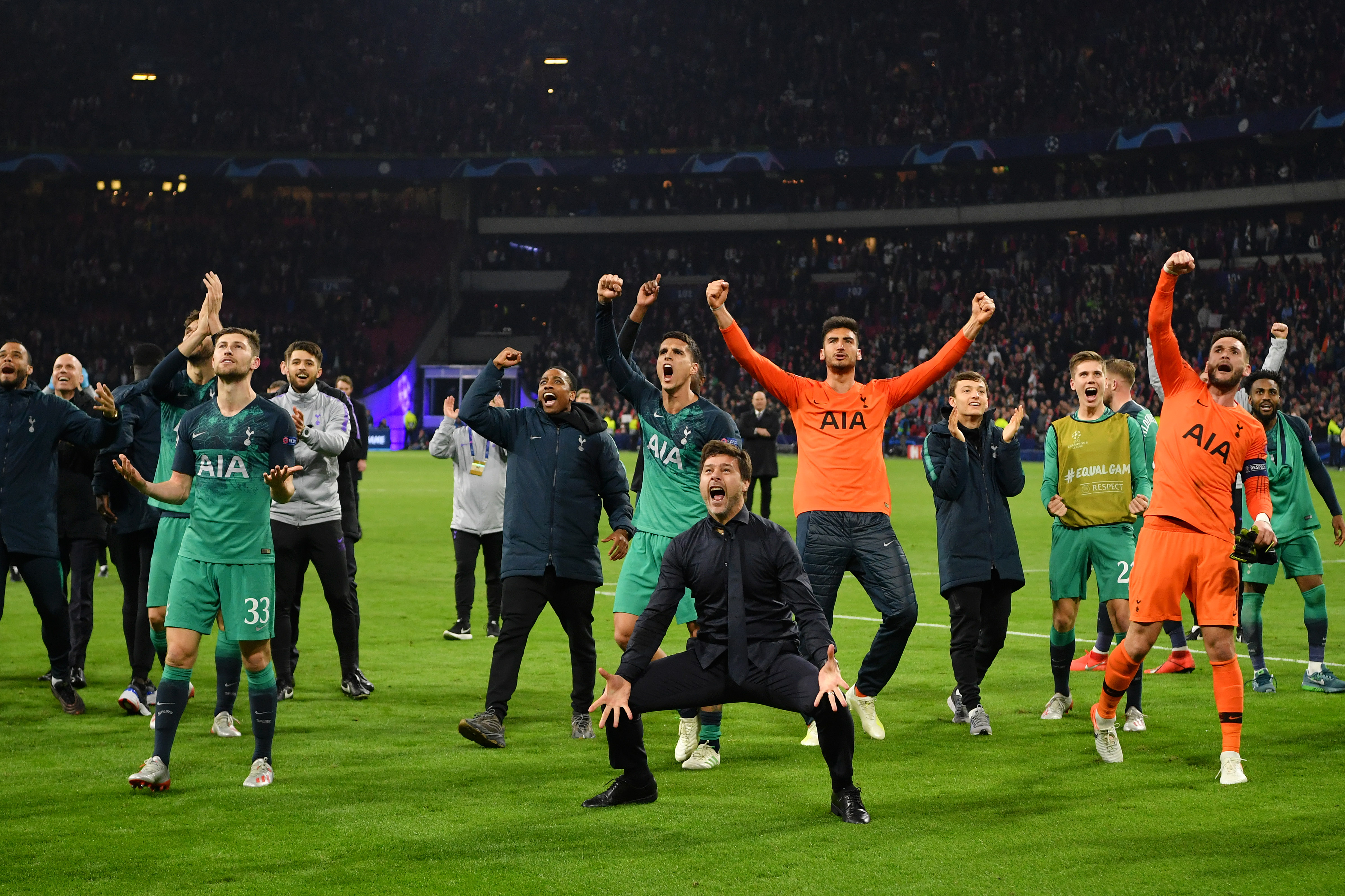 Mauricio Pochettino, manager of Tottenham Hotspur, celebrates victory with his team after the UEFA Champions League semi-final second leg match between Ajax and Tottenham Hotspur at the Johan Cruyff Arena.
