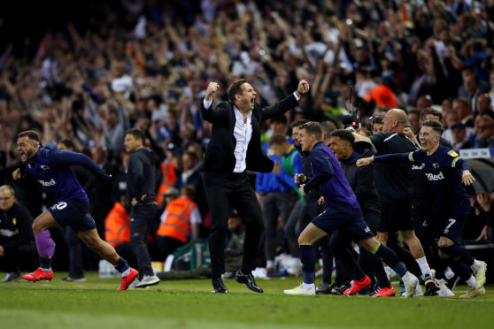 Frank Lampard celebrates victory following the Sky Bet Championship Play-off semi final second leg match between Leeds United and Derby County at Elland Road.