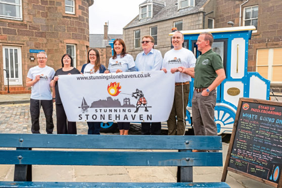 The stunning Stonehaven launch with committee members and Jackie Lockheart