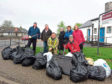 Some of the bags of rubbish collected by the volunteers
