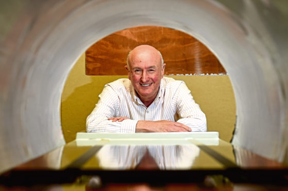 Professor David Lurie with the new Fast Field-Cycling MRI which is hoped will revolutionise cancer diagnosis