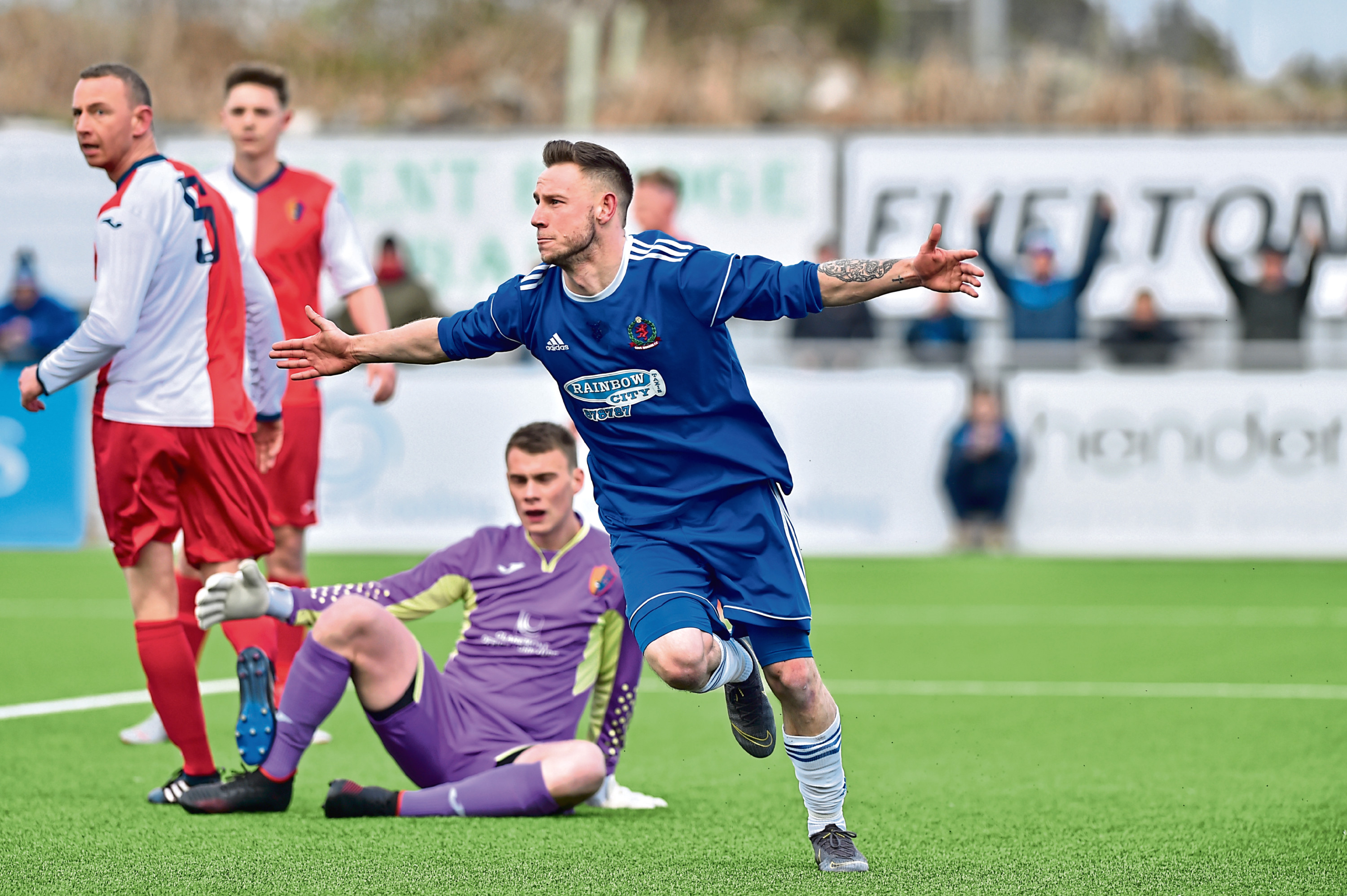 Mitch Megginson celebrates opening the scoring for Cove Rangers against East Kilbride Picture by Scott Baxter