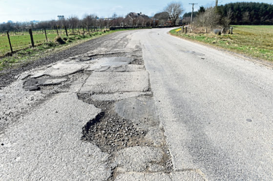 Potholes on the Netherley to Portlethen road