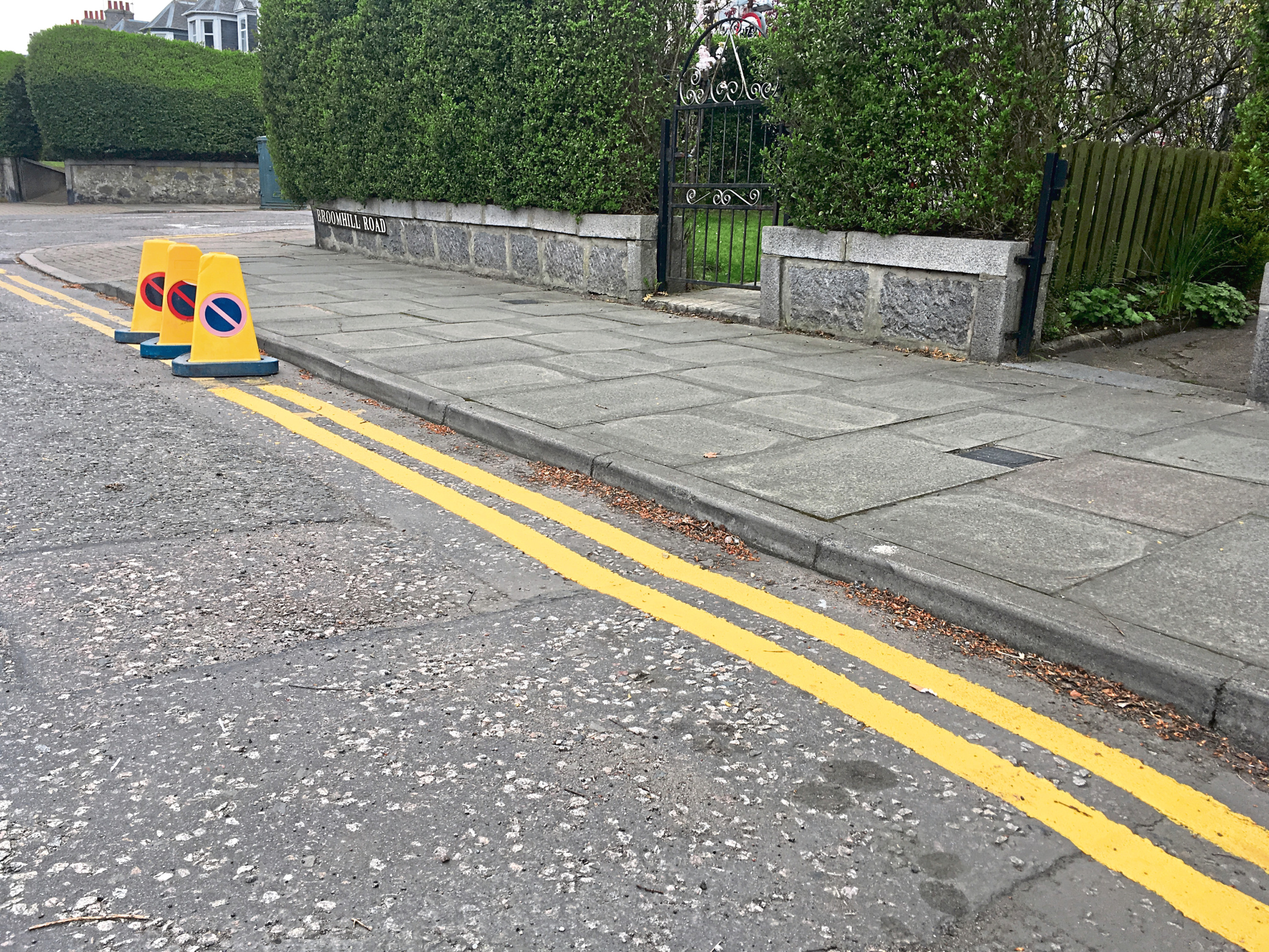 The mistakenly-painted yellow lines
