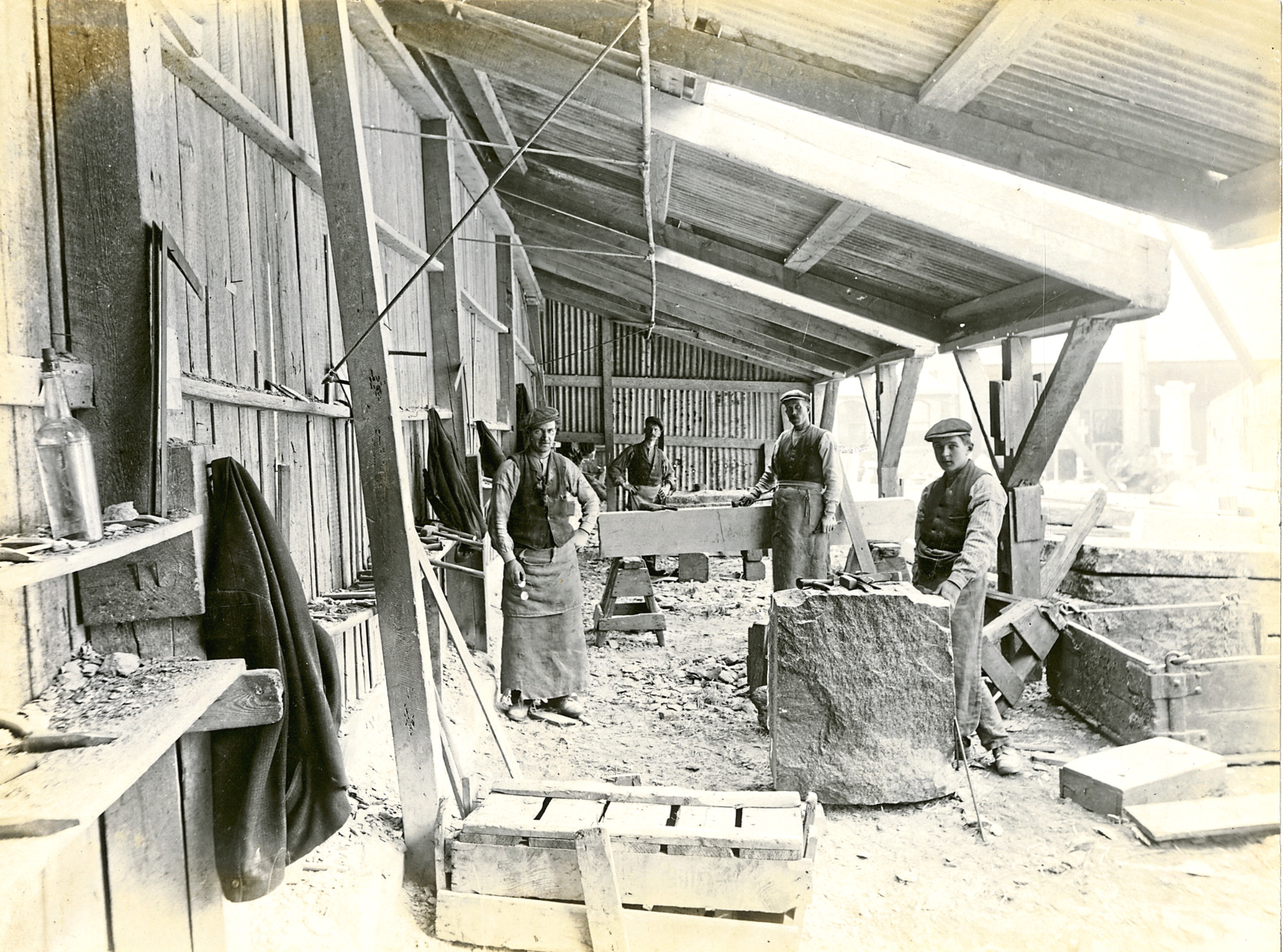 Our Aberdeen Photograph of Masons' Shed at Excelsior Granite Works Aberdeen Art Gallery & Museums Collections