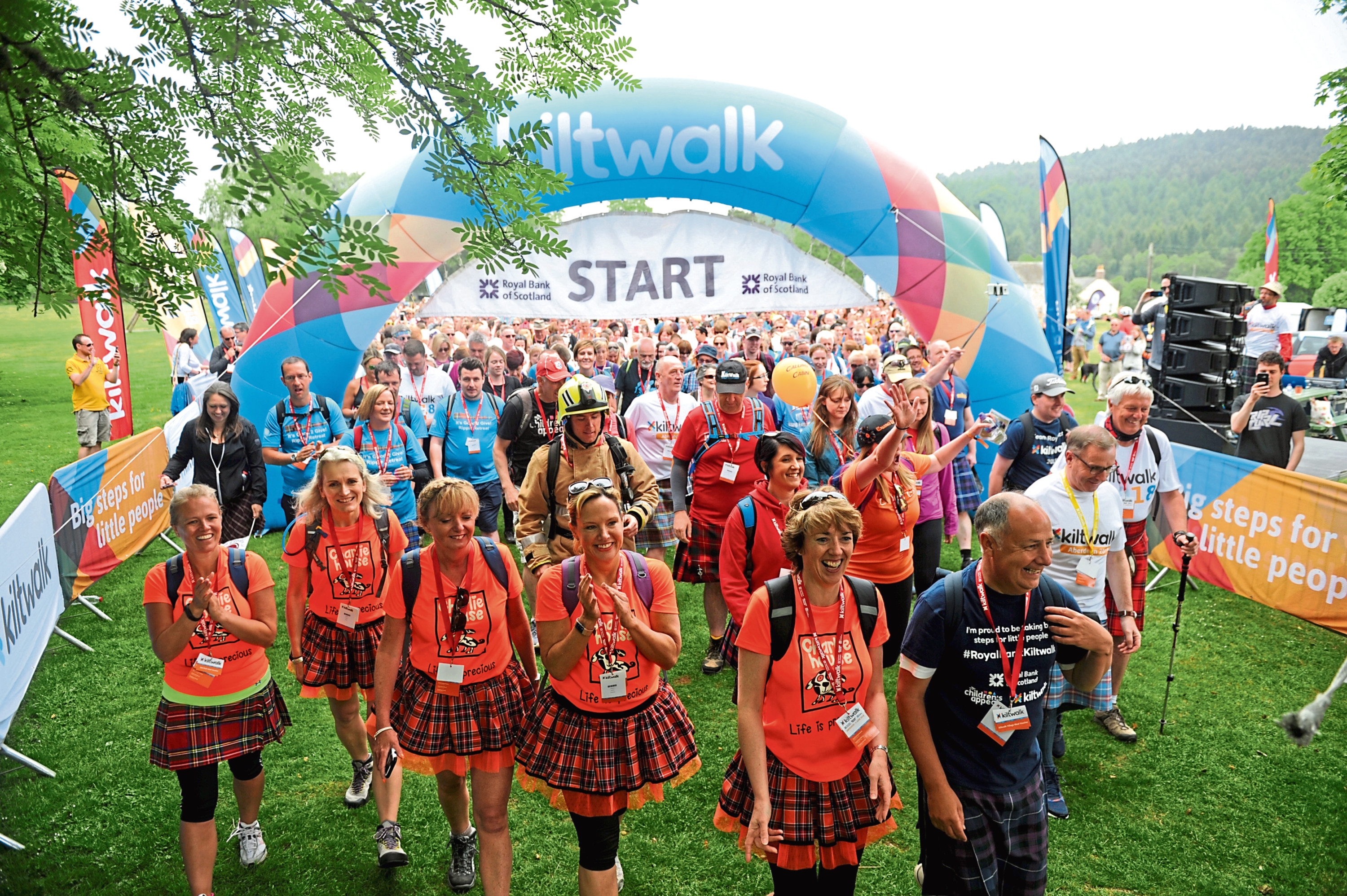 The start of the Mighty Stride walk in Potarch in 2018