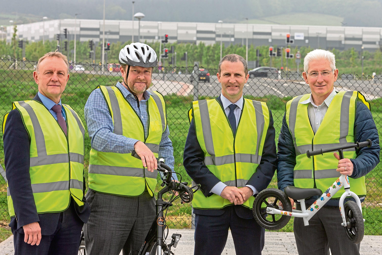 From left, Keith Gerrard of Sport Aberdeen, Jon Barron of Nestrans, Michael Matheson and Andrew Miller of Live Life Aberdeenshire