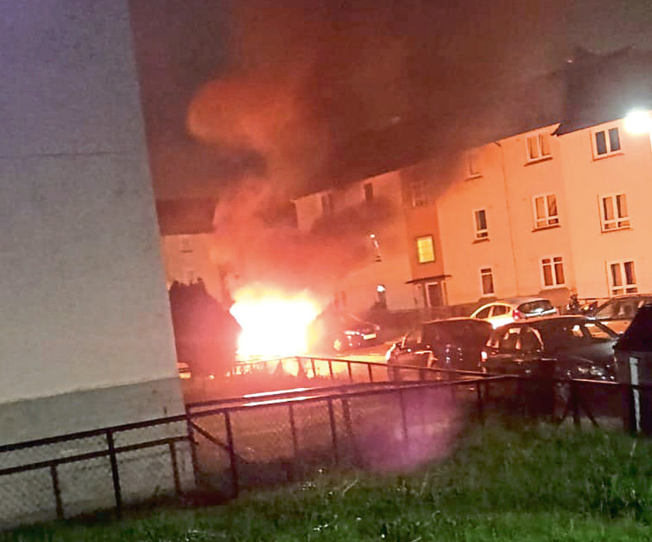 Residents have spoken of their fear after a van was torched outside their flats