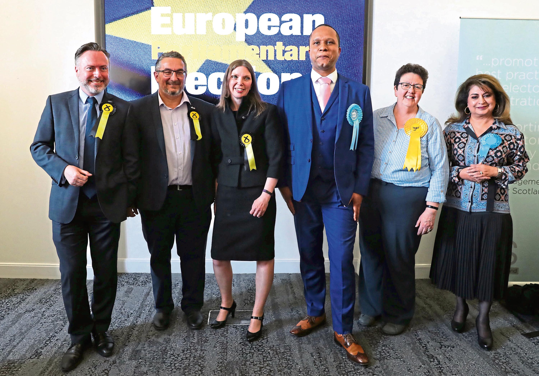 Newly-elected MEPs Alyn Smith, Christian Allard, Aileen McLeod, Louis Stedman-Bryce, Sheila Ritchie and Nosheena Mobarik