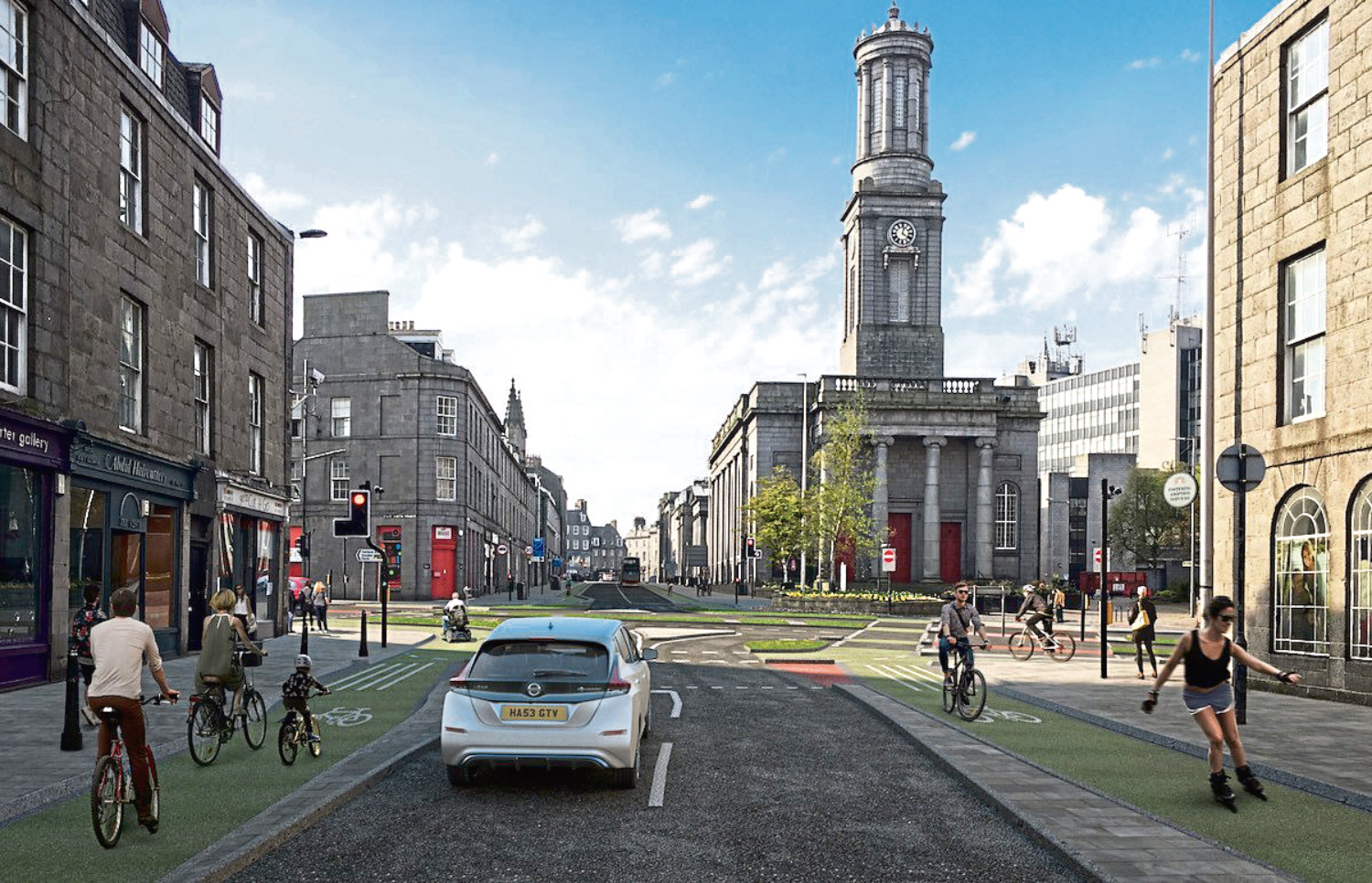 Cyclists stay safe in the green lanes in this prize-winning artist's impression of ideas for the King Street approach to Union Street