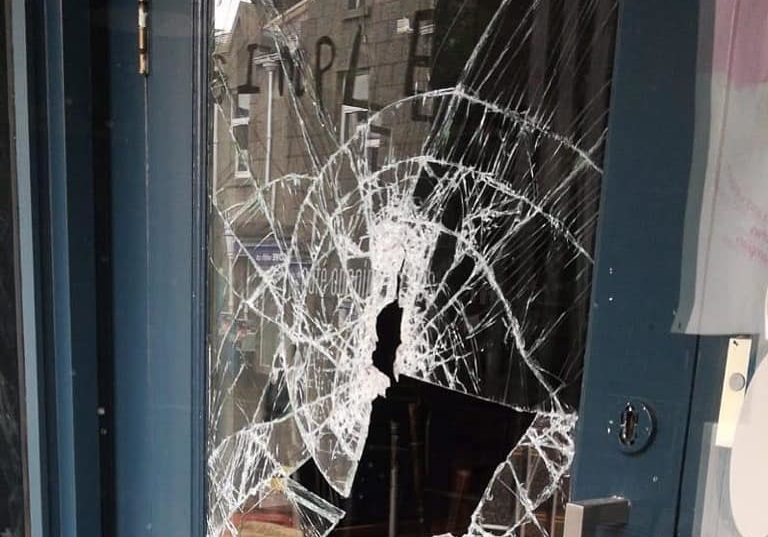 A photo of the damaged window was shared on Foodstory's Facebook page