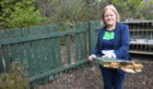 Councillor Ann Ross in HIll of Banchory School's vandalised ego garden