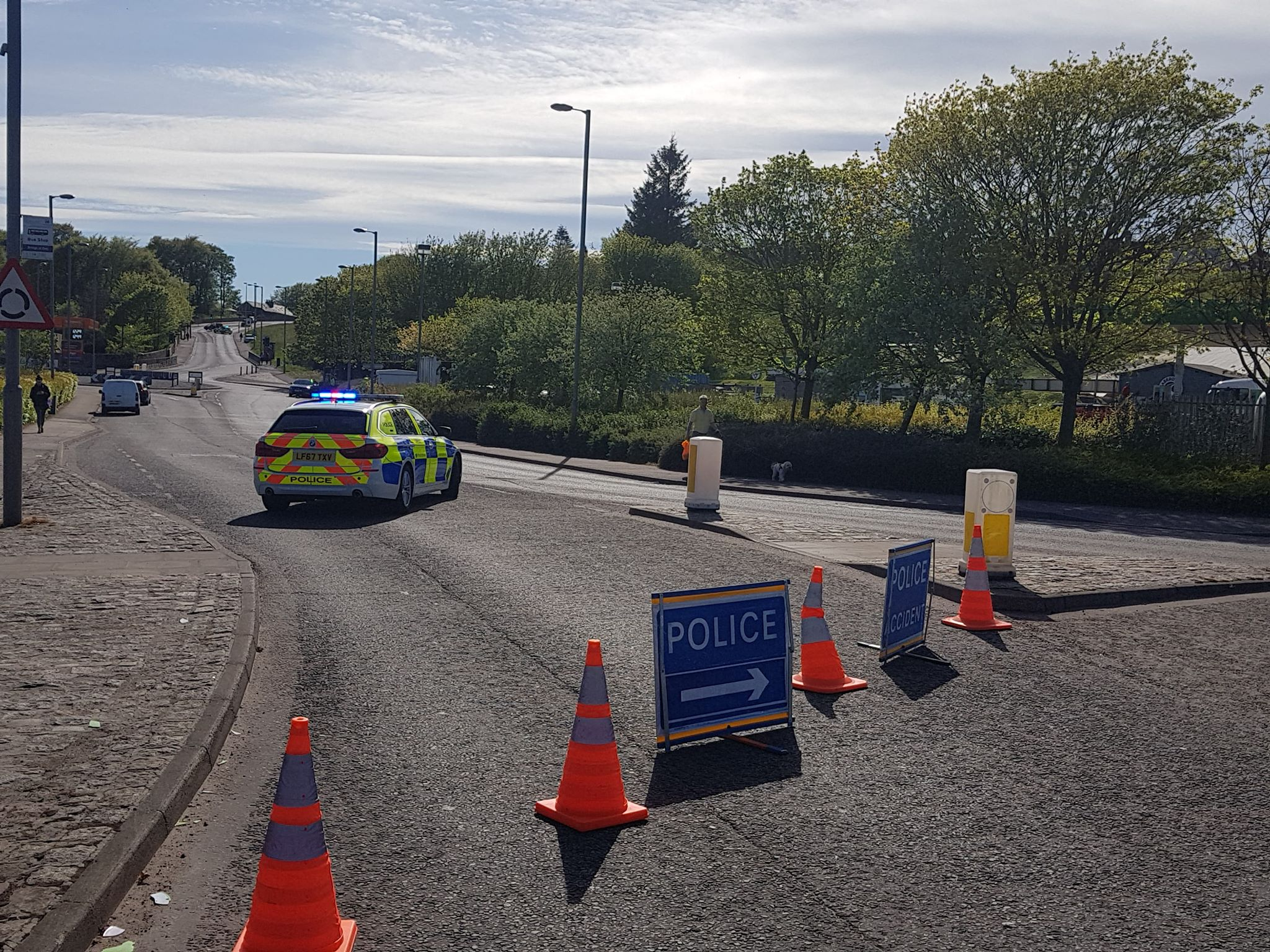 Police at the scene on Garthdee Road