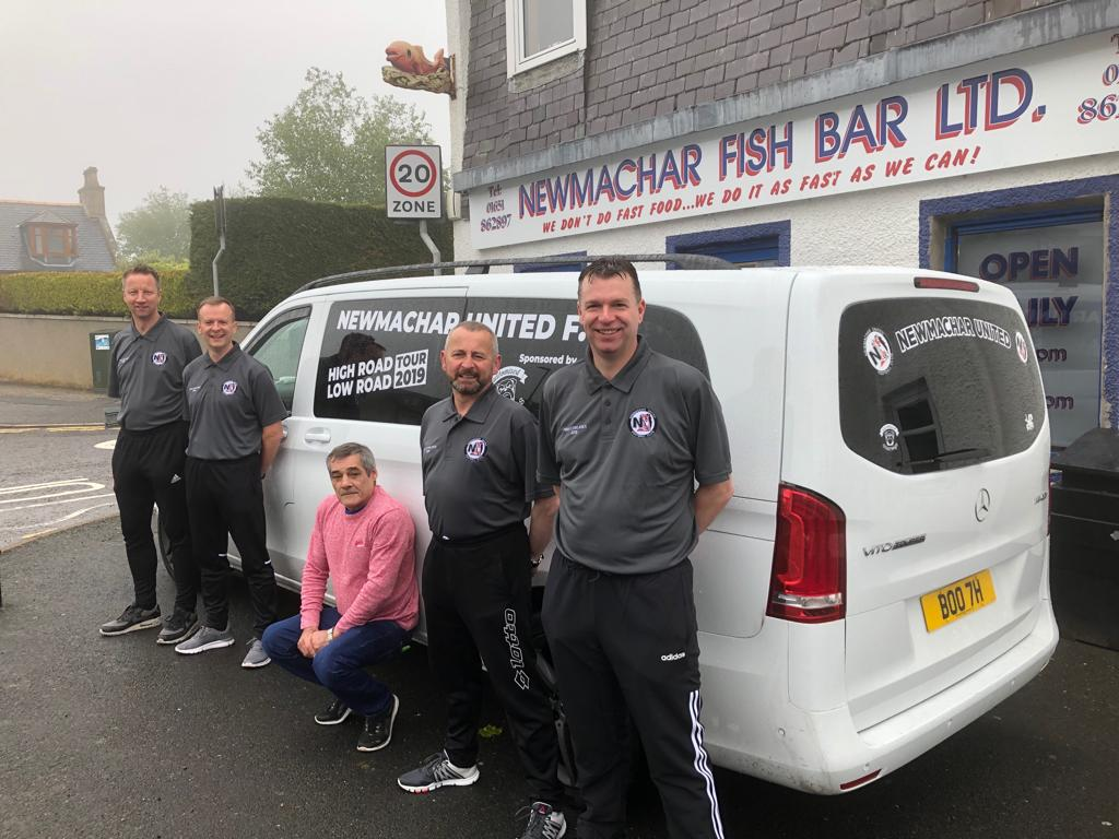 From left, Brian Johnston, Chris Cooper, John Booth (Newmachar Fish Bar), John Matthew and Deane Lawson.