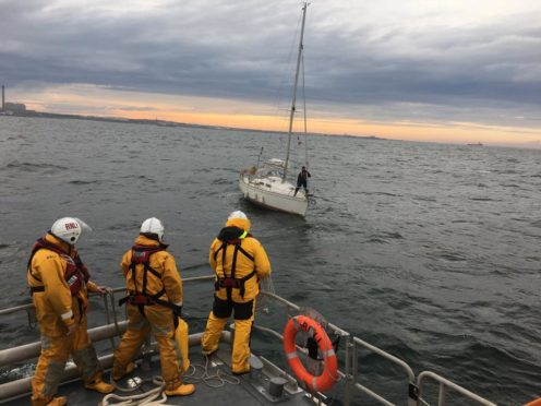 A lifeboat crew was called to a rudderless yacht off the coast of Peterhead last night.