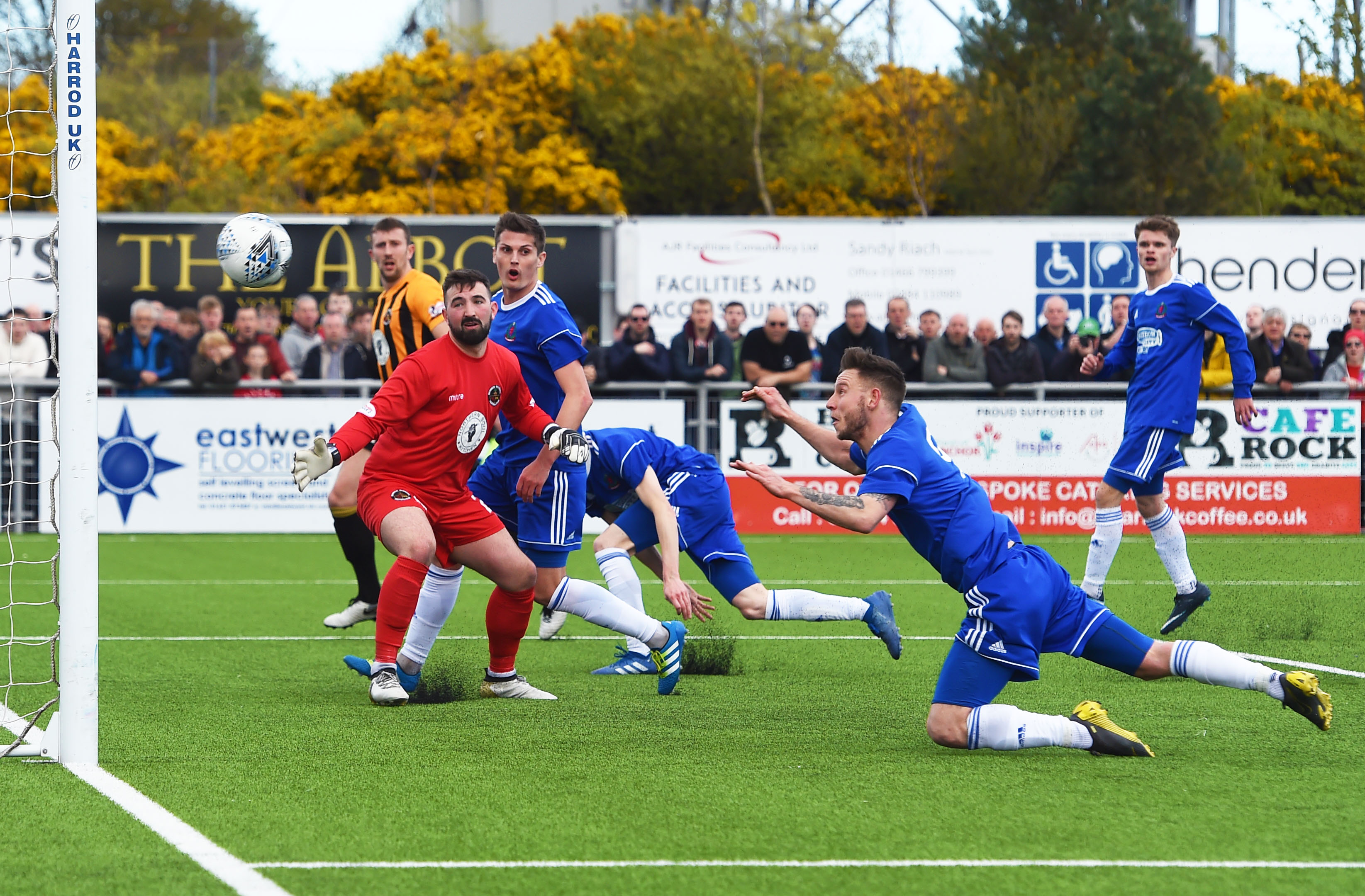 Mitchel Megginson heads home from close range to make it 2-0 to Cove Rangers.