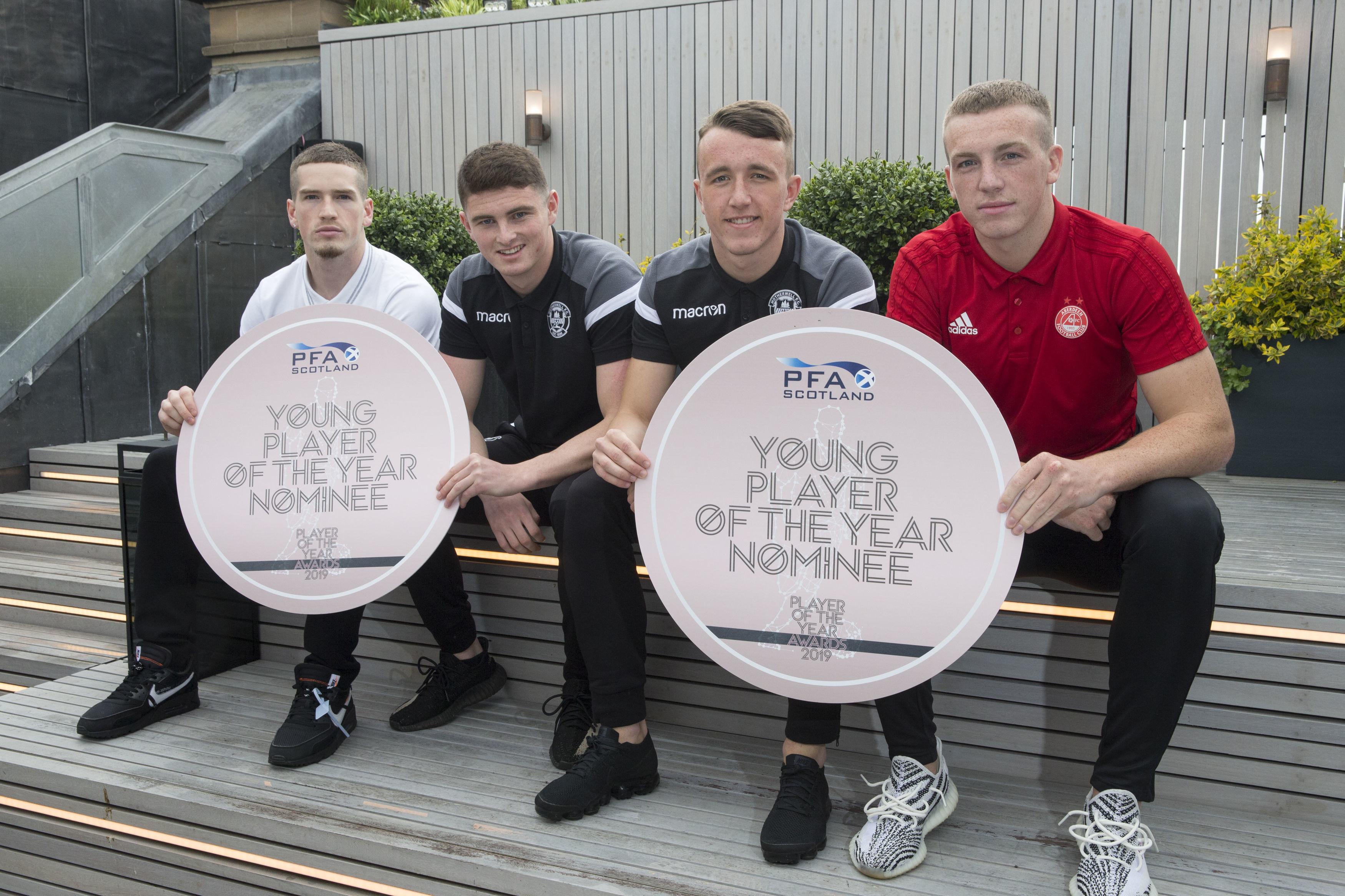 Aberdeen's Lewis Ferguson, Motherwell's Jake Hastie, Rangers' Ryan Kent and Motherwell's David Turnbull.