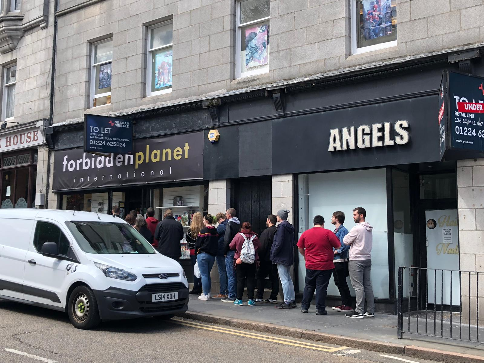 Fans queued outside the store