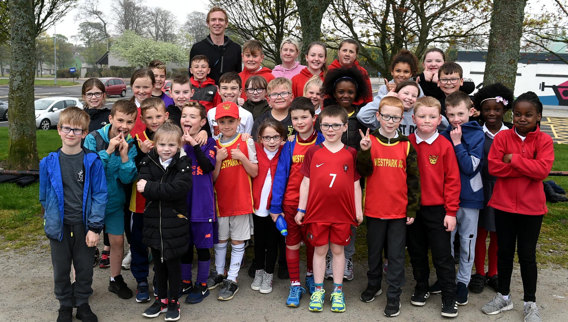 Westpark's athletics club with Nigel O'Neill, rear.