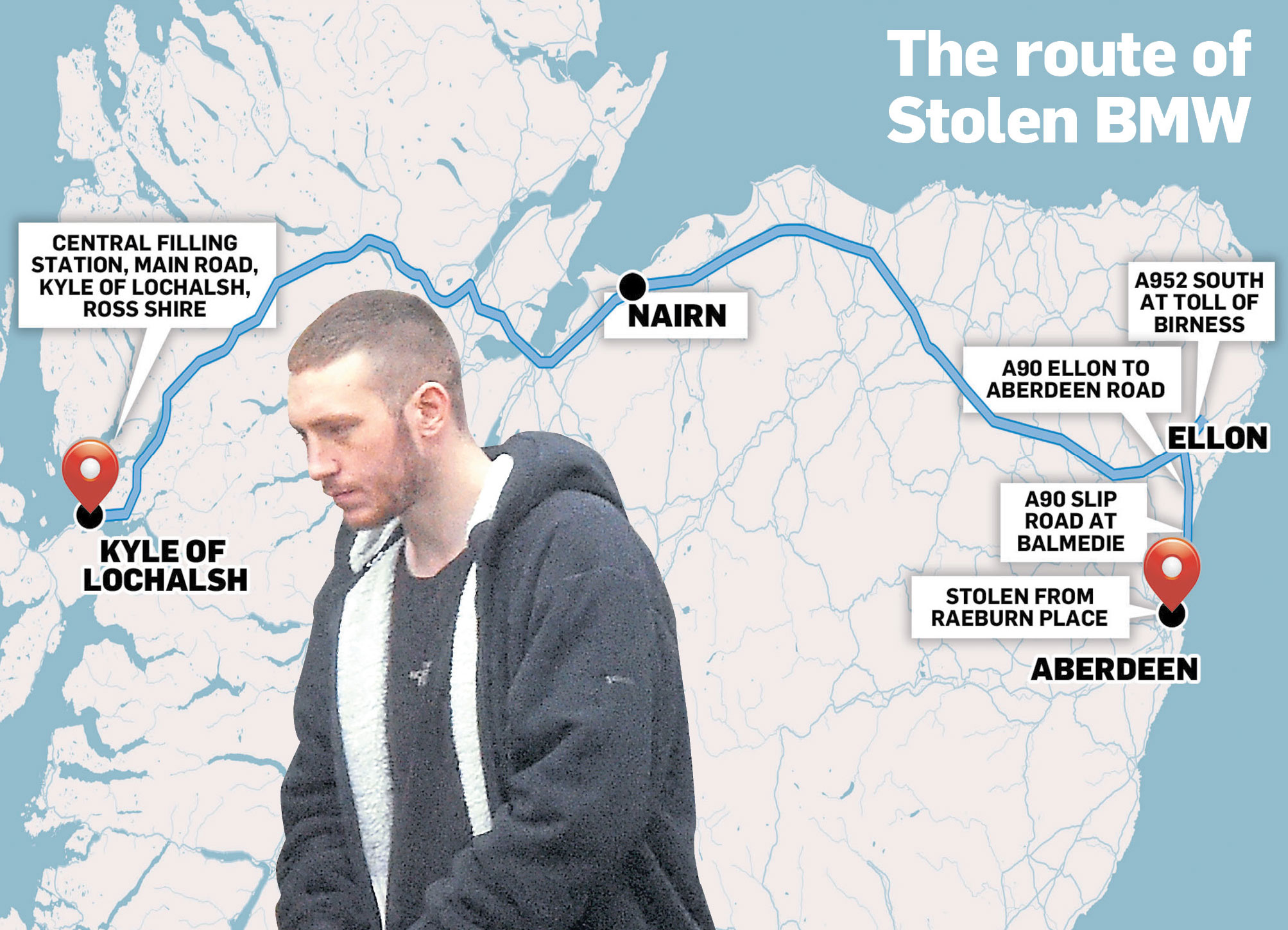 Lee Paterson led police on a chase right across the country, having stolen the car from Raeburn Place in the city
