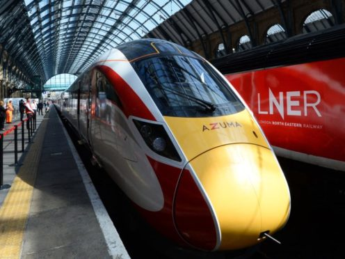 One of LNER's new Azuma trains at London's King's Cross station