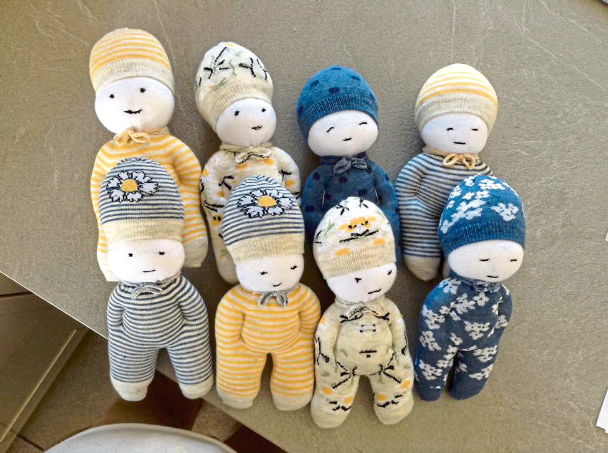 The sock dolls created as a fundraising venture by Sandra