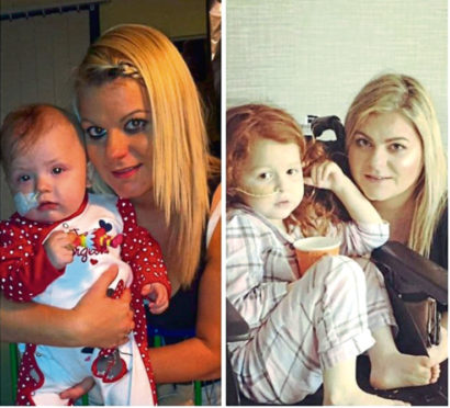 Lacey and Imogen Miller with their mum, Claire