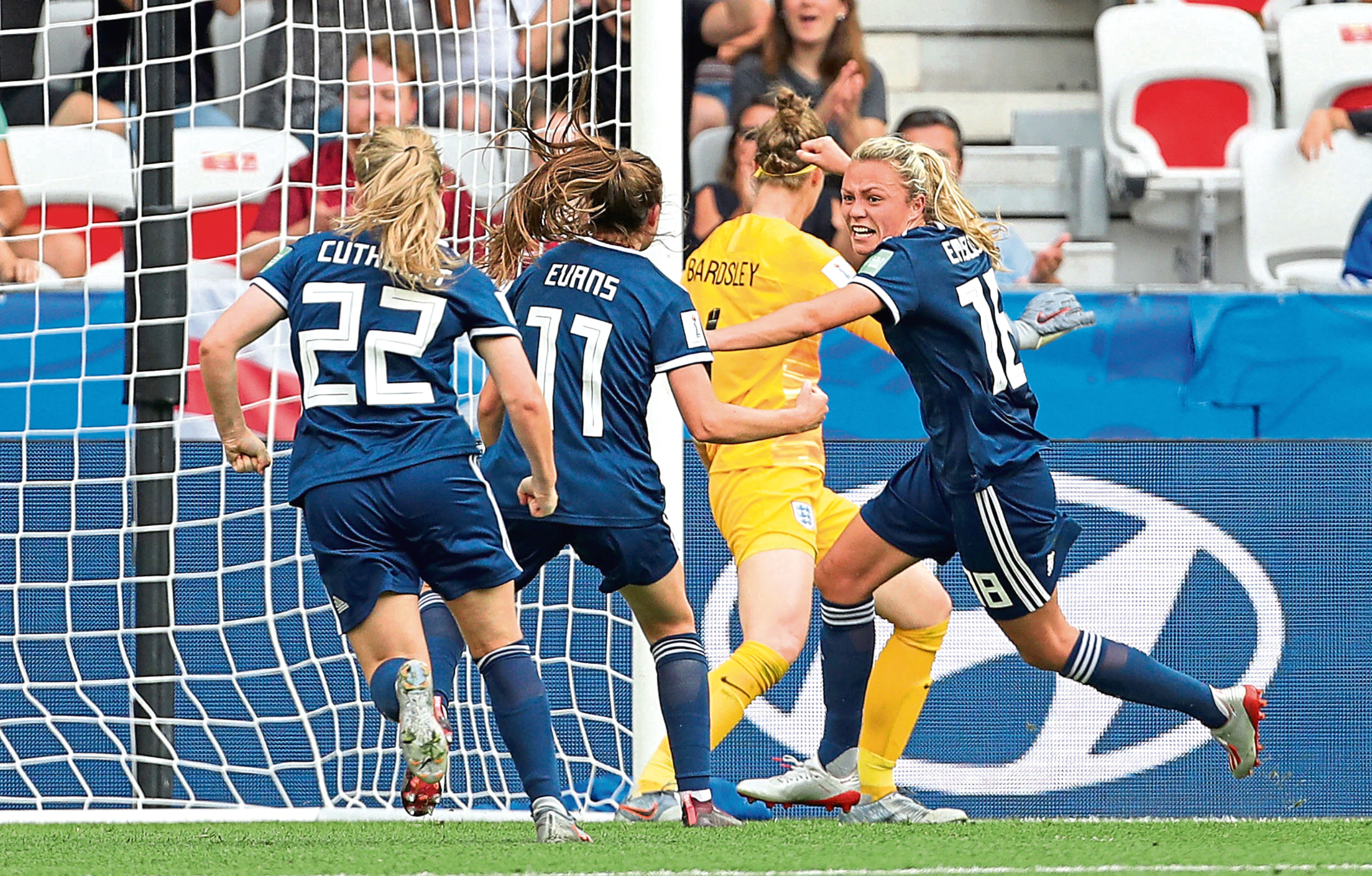 Scotland's Claire Emslie, right, celebrates scoring her side's first goal of the game during the FIFA Women's World Cup, Group D match at the Stade de Nice.