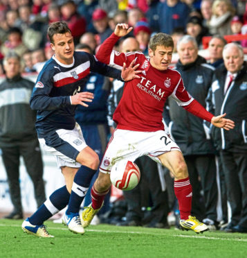 Ryan Fraser in action for Aberdeen against Dundee in 2012.