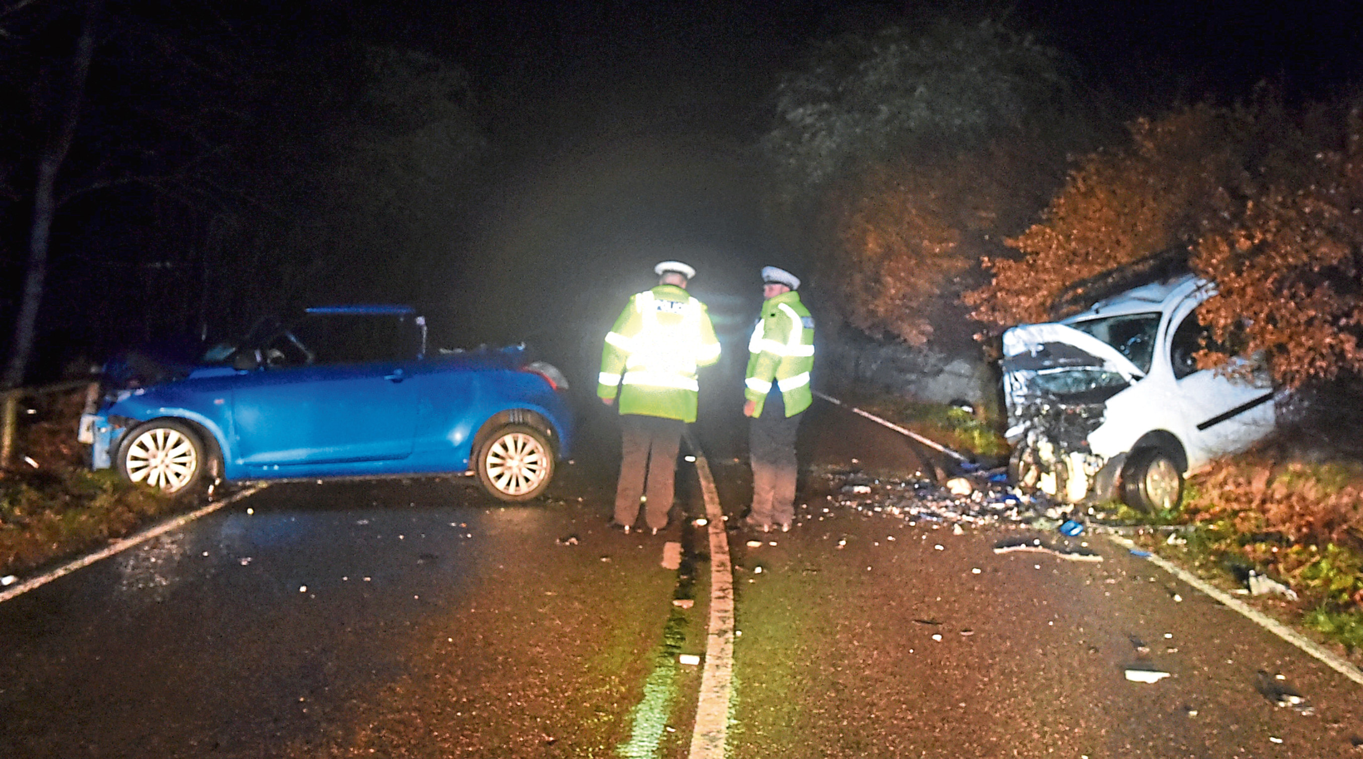 The aftermath of the accident on the A93 in December which led to a driving ban for Sally-Ann Henderson