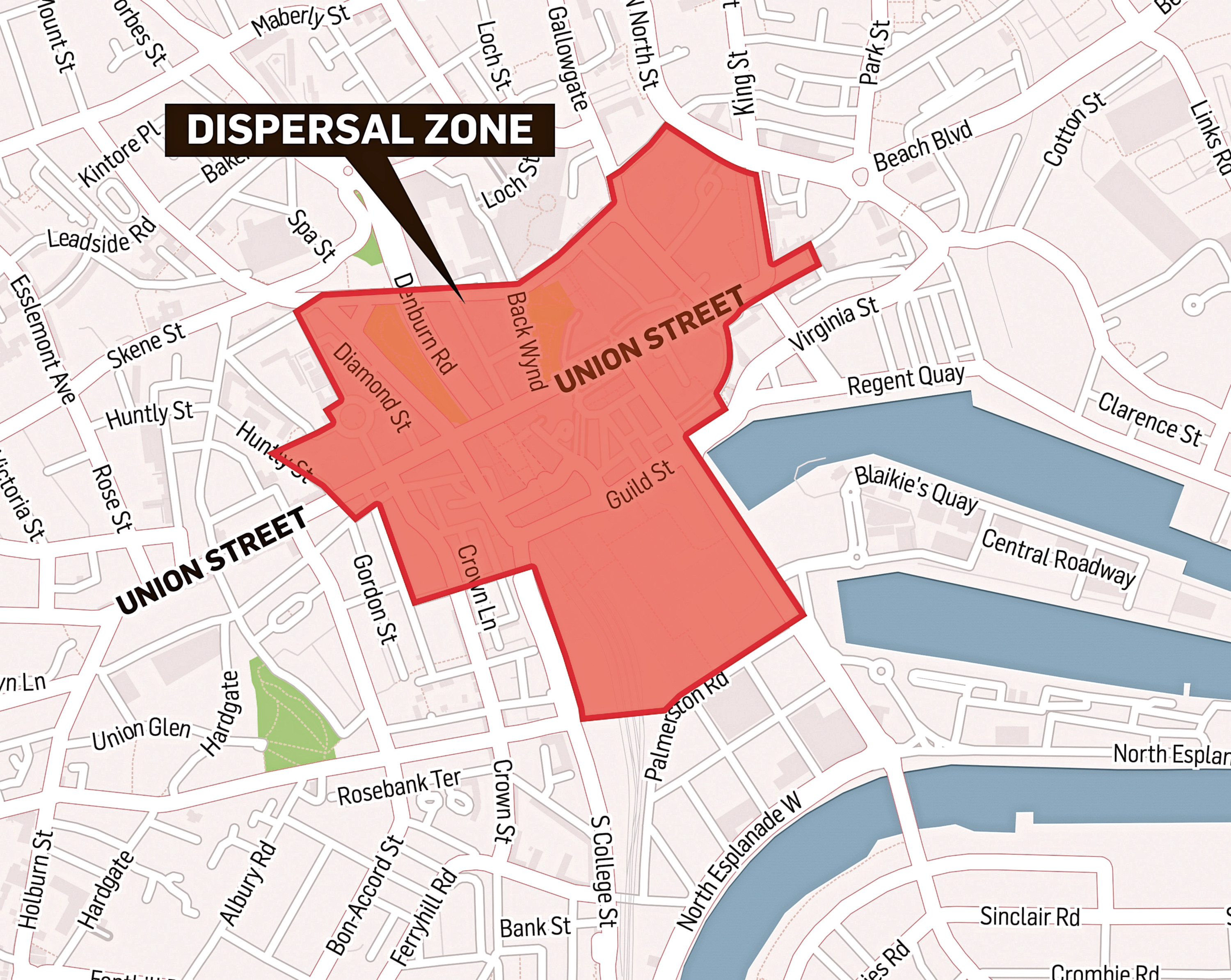 The area identified within Aberdeen city centre where police officers can ask antisocial youths to leave
