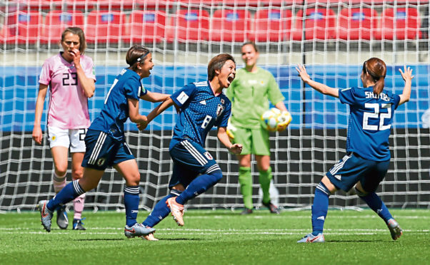 Japan's Mana Iwabuchi (celebrates scoring against Scotland Credit:  Richard Sellers/PA Wire.