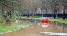 A car trapped in Duthie Park after the Storm Frank floods